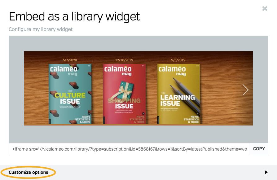 Configure virtual library widget window