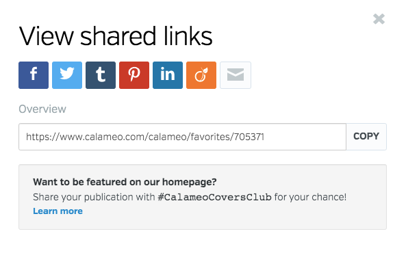 Favorites share link window