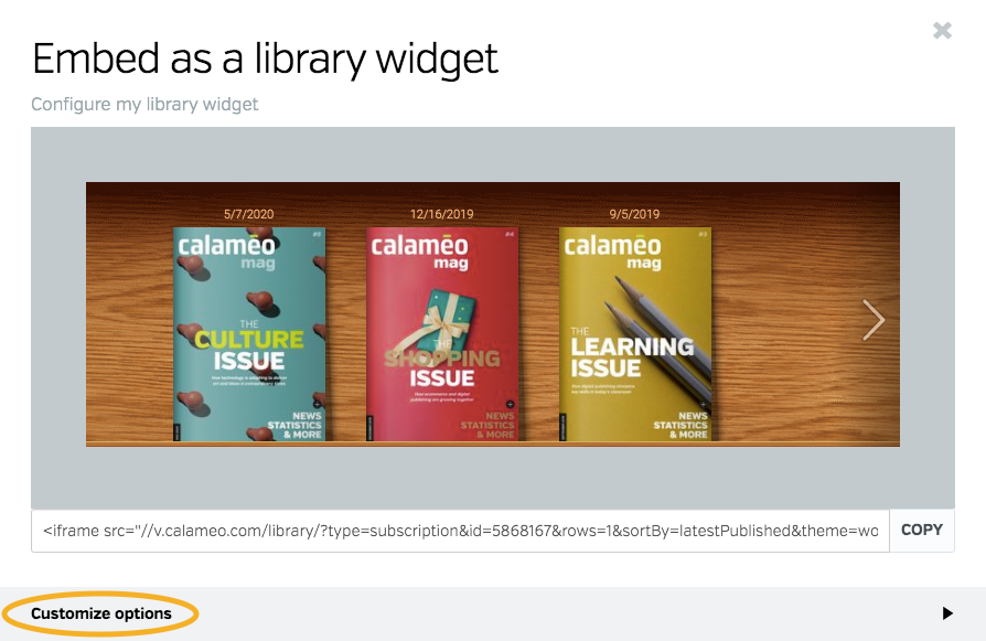 Configure virtual library widget window